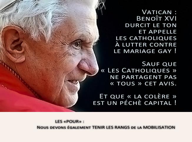Vatican : Benoît XVI durcit le ton et appelle les catholiques à lutter contre le mariage gay: