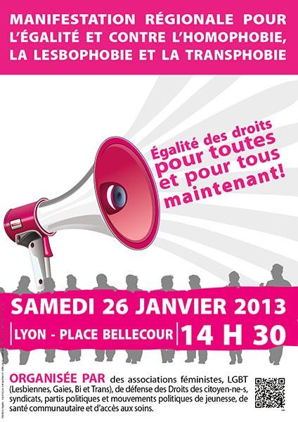 Manifestation pour l'Egalité et contre l'homophobie, la lesbophobie et la transphobie, samedi 26 janvier à 14h30, Place Bellecour