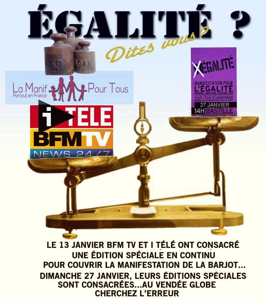 Mariage pour tous BFM TV ET I-Télé critiquées pour leur traitement de la manifestation
