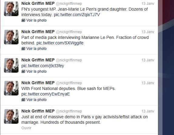 Nick Griffin : un négationniste antisémite et raciste à la « manif pour tous » dans le cortège FN