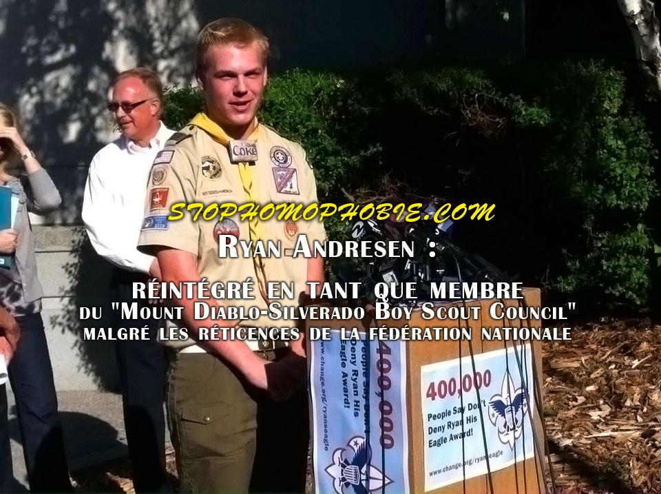"""Ryan Andresen : réintégré en tant que membre du """"Mount Diablo-Silverado Boy Scout Council"""" malgré les réticences de la fédération américaine"""