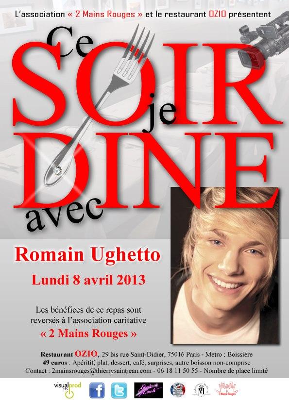 Le Lundi 8 Avril, l'association DEUX MAINS ROUGES et Le phénomène teenage made in France ! Romain Ughetto organisent un grand repas CARITATIF !