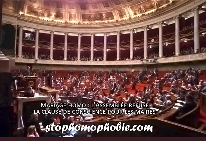 Mariage homo : l'Assemblée refuse la clause de conscience pour les maires