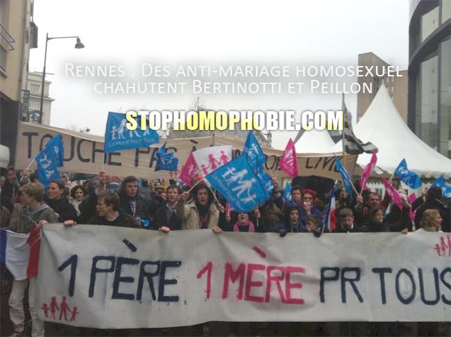 Rennes Des anti-mariage homosexuel chahutent Bertinotti et Peillon