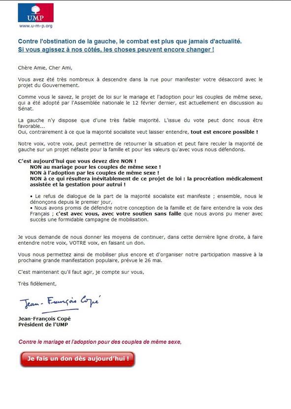 Copé appelle les militants UMP à faire un don en vue de La Manif pour Tous