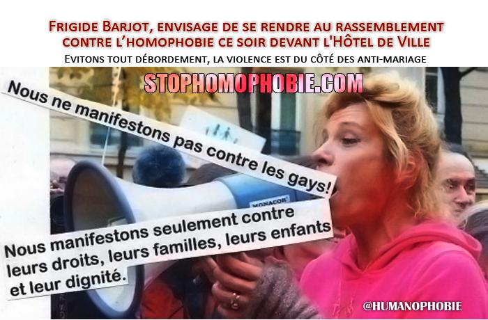 Bluff ou provocation? Frigide Barjot, envisage de se rendre au rassemblement contre l'homophobie ce soir devant l'Hôtel de Ville !!!