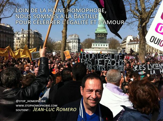 Manifestation pro mariage pour tous : Loin de la haine homophobe, nous sommes a la Bastille pour célébrer l'égalité et l'amour.