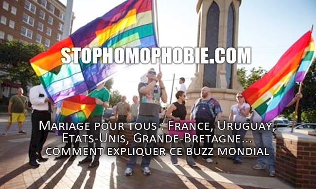 Mariage pour tous : France, Uruguay, Etats-Unis, Grande-Bretagne... comment expliquer ce buzz mondial, d'autant plus que d'autres pays, onze en totalité, l'ont déjà adopté ?