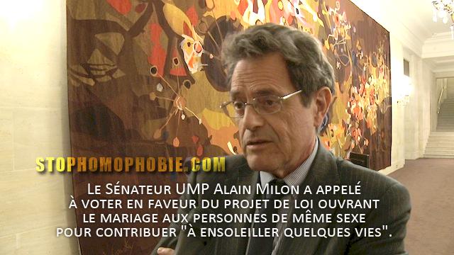 Mariage pour tous : Le Sénateur UMP Alain Milon veut contribuer à ensoleiller quelques vies