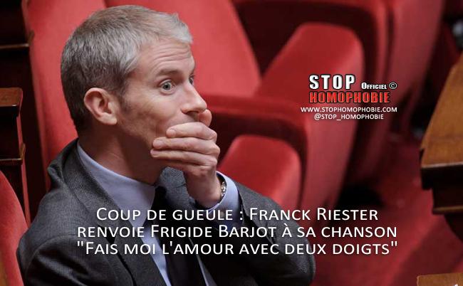 """Mariage Homo et coup de gueule : Franck Riester renvoie Frigide Barjot à sa chanson """"Fais moi l'amour avec deux doigts"""""""