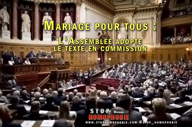 Mariage pour tous : L'Assemblée adopte le texte en commission