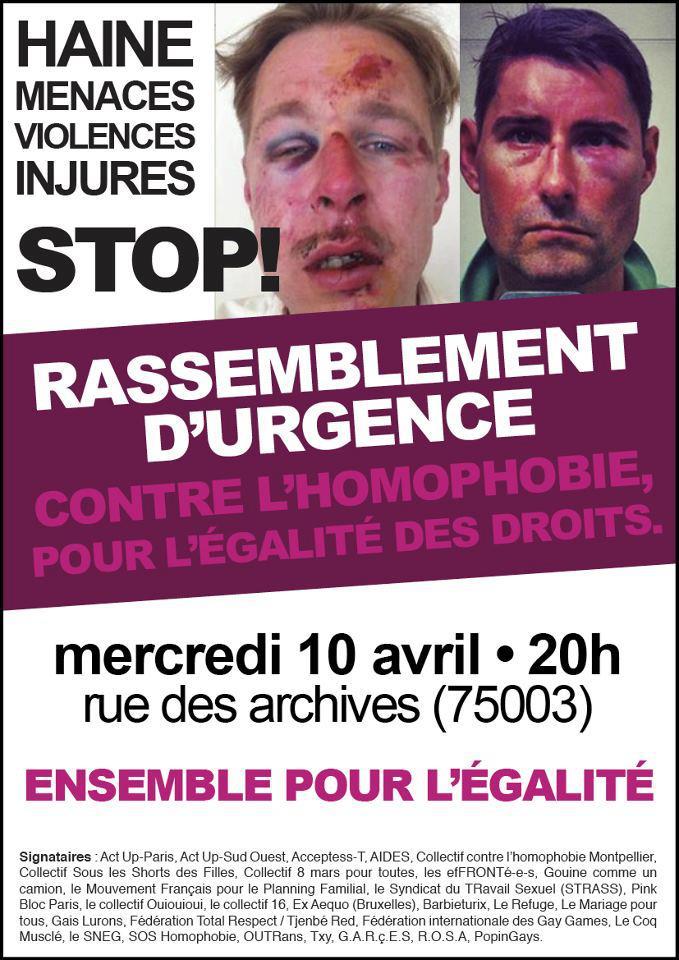 Lutter contre l'#homophobie : Mercredi 10 avril à 20 heures rassemblement !