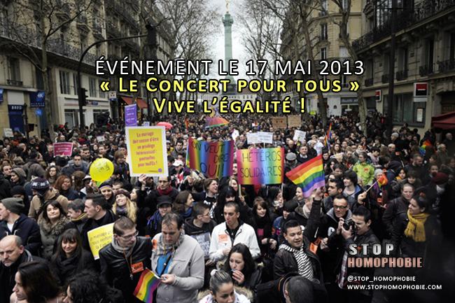 ÉVÉNEMENT LE 17 MAI 2013 : « Le Concert pour tous » Vive l'égalité !