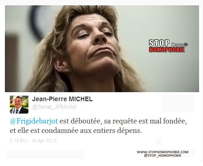 """Jean-Pierre Michel avait le droit d'écrire que """"Frigide Barjot représente la pire des homophobies"""""""