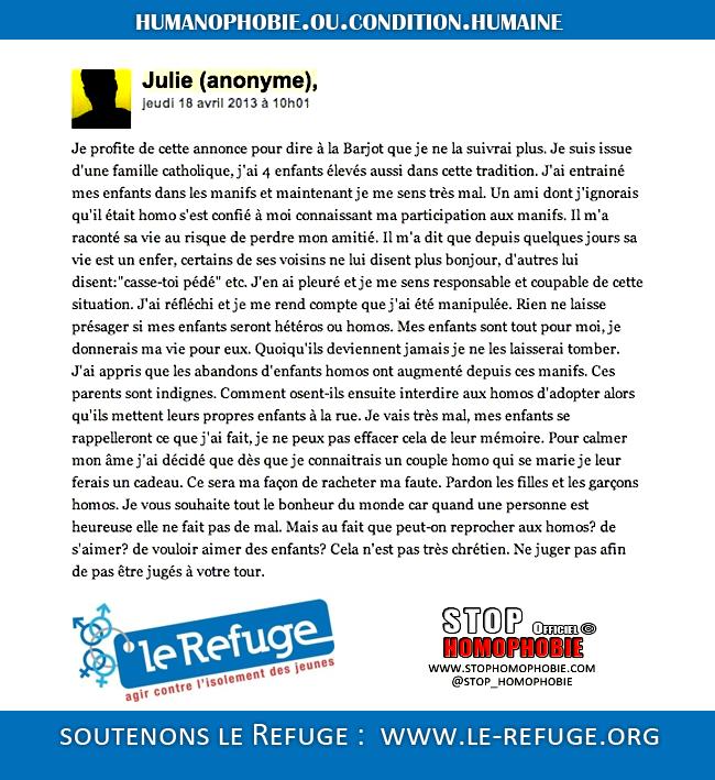 """Homophobie et manipulations : Lettre d'une """"maman"""" à Frigide Barjot pour manifester son désengagement à la #manifpourtous"""