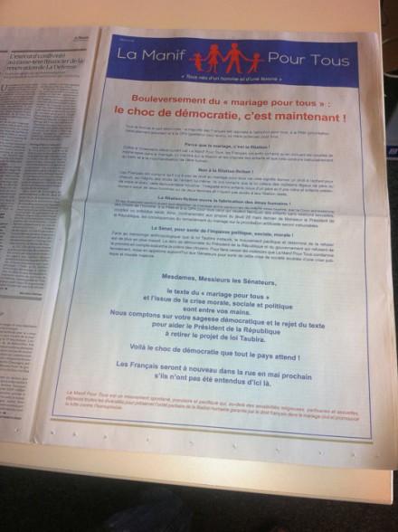 «Le Monde» diffuse la publicité homophobe de la «Manif pour tous»
