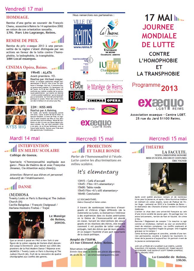 Journée mondiale de lutte contre l'homophobie et la transphobie organisée par l'association Exaequo !