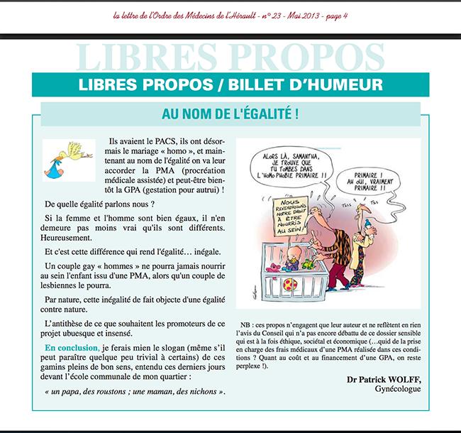 L'Ordre des médecins de l'Hérault en plein dérapage homophobe