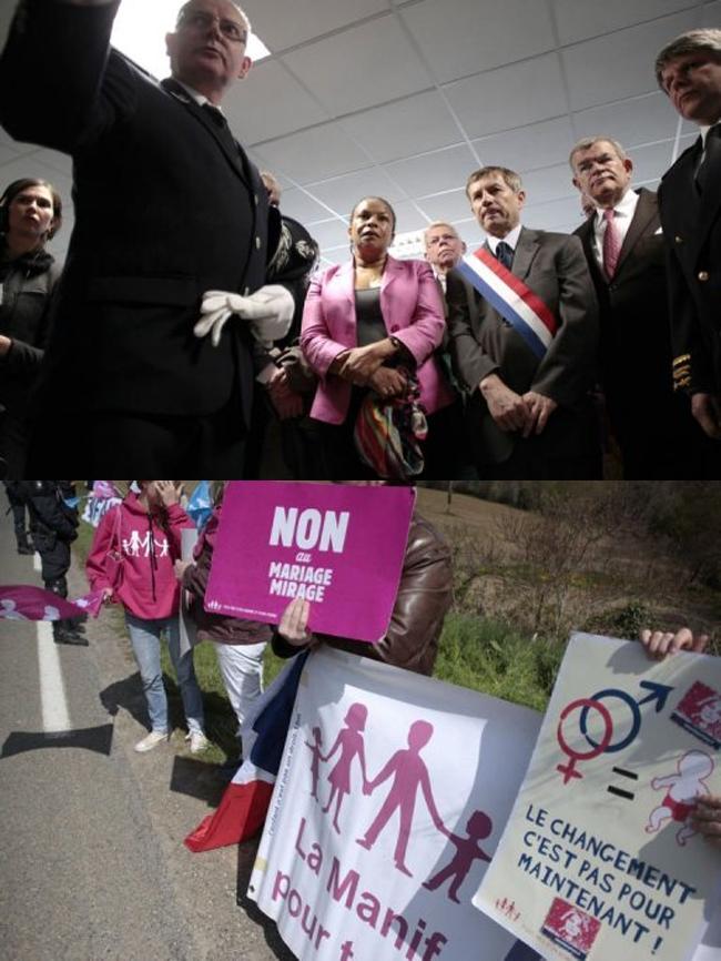 Manif anti-mariage gay : Une centaine de manifestants contre Christiane Taubira dans l'Orne