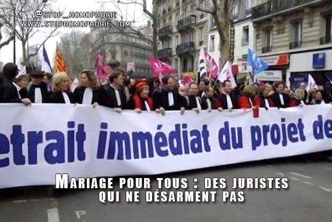Mariage pour tous : des juristes qui ne désarment pas !