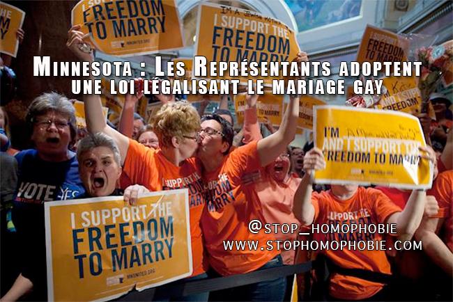 Minnesota : Les Représentants adoptent une loi légalisant le mariage gay