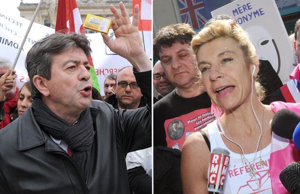 Manif du 5 mai: «Coup de balai» de Mélenchon contre «Manif pour tous» de Barjot