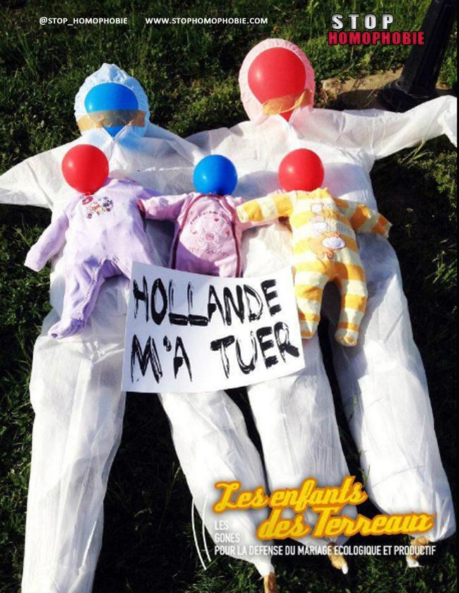 A #Lyon, les délires morbides des anti #mariagepourtous deviennent franchement inquiétants.