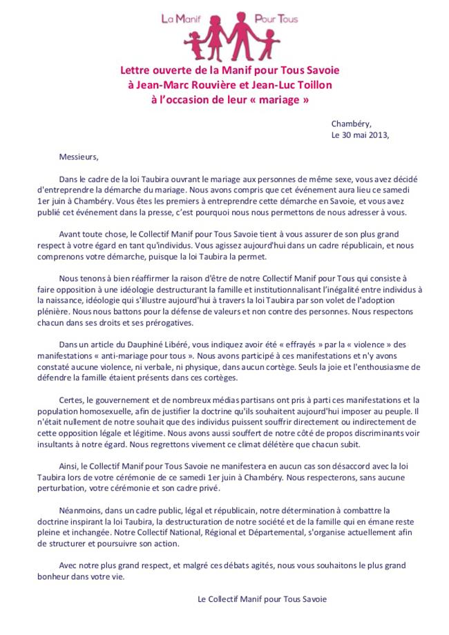 """Surprise : A l'heure du premier mariage homosexuel à Chambéry, le collectif """"Manif pour Tous"""" de Savoie adresse une lettre aux futurs époux"""