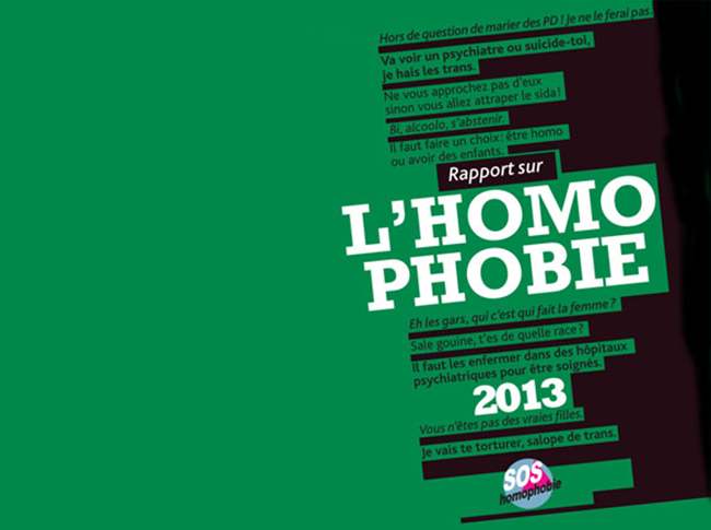 Rapport SOS Homophobie : Les actes homophobes en nette hausse en 2012