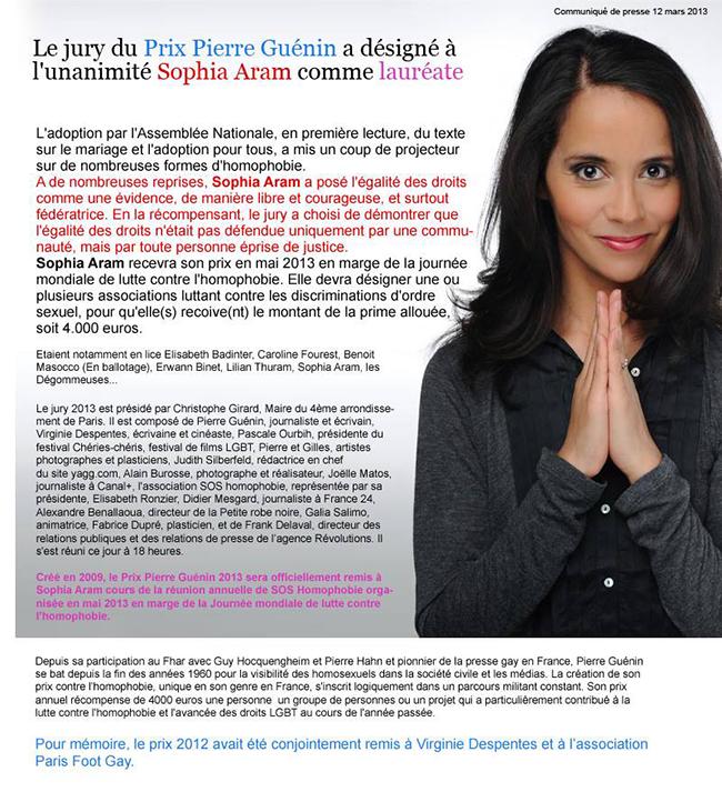 Sophia Aram : Prix Pierre Guénin contre l'homophobie 2013