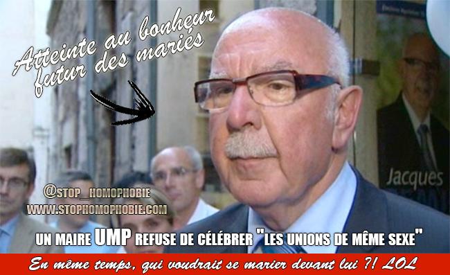 """Mariage pour tous : un maire UMP refuse de célébrer """"les unions de même sexe"""""""