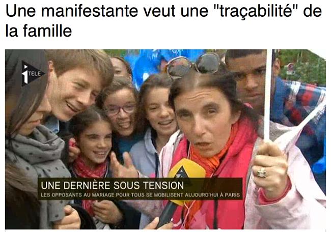 """Une manifestante veut une """"traçabilité"""" de la famille"""