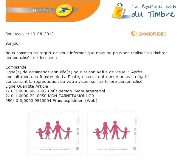 Le @GroupeLaPoste refuse l'impression de timbres au logo #ManifPourTous ! On remercie <3