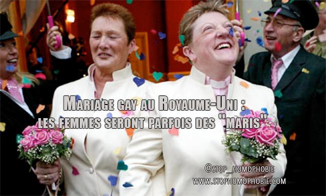 """Mariage gay au Royaume-Uni : les femmes seront parfois des """"maris"""""""