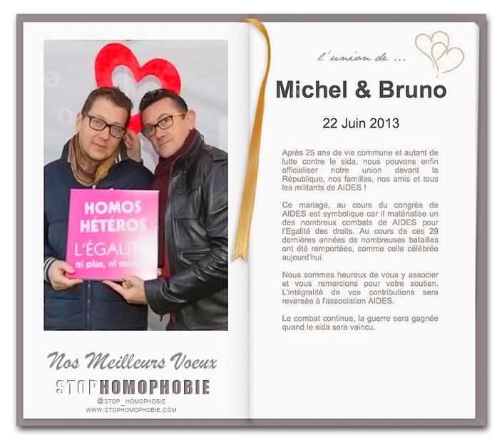 Bruno Spire et Michel Bourrelly se marient le 22 juin 2013 au profit de AIDES