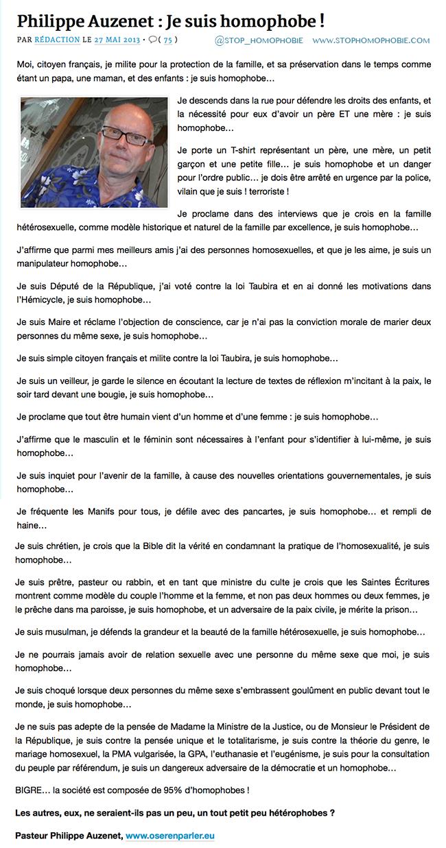 Philippe Auzenet : Je suis homophobe !