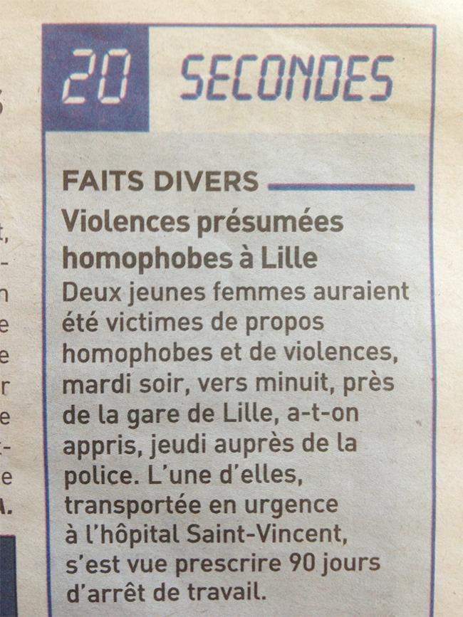 Violences présumées homophobes à Lille !