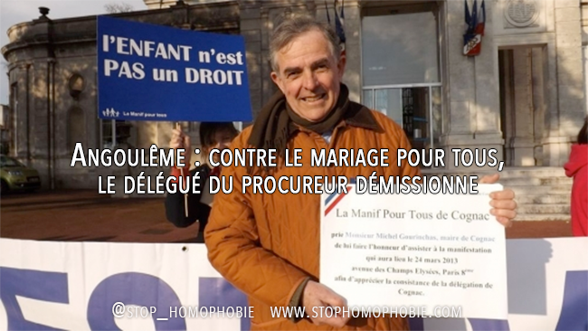 Angoulême : contre le mariage pour tous, le délégué du procureur démissionne