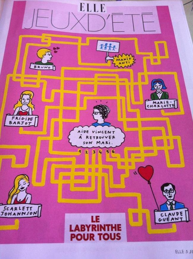 """Labyrinthe pour tous ou quand le magazine ELLE publie un jeu d'été : """"Aide Vincent à trouver son mari"""" ;)"""
