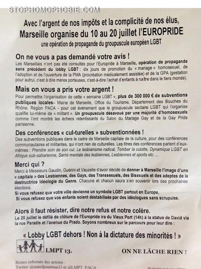 EUROPRIDE MARSEILLE : Quand la clique des antis retape dans le spectre d'un Lobby Gay