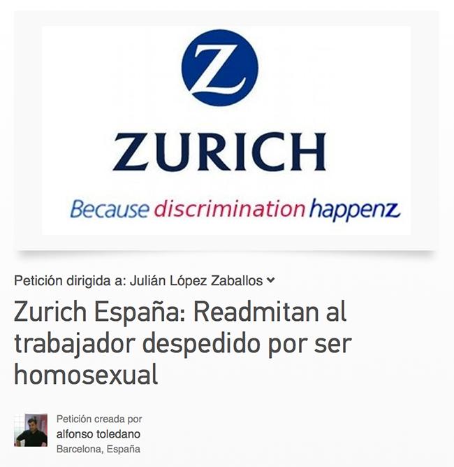 """Homophobie - pétition : Mon nom est Alfonso Toledano, et je viens de me faire renvoyer de mon travail parce que je suis """"gay""""."""