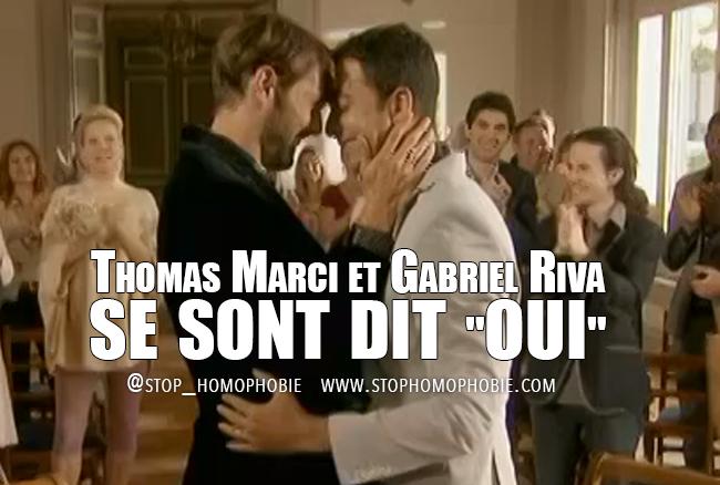 """Thomas Marci et Gabriel Riva, deux personnages de la série Plus belle la vie, se sont dit """"oui"""", vendredi 12 juillet sur France 3"""