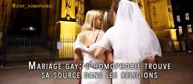 Mariage gay: l'homophobie trouve sa source dans les religions