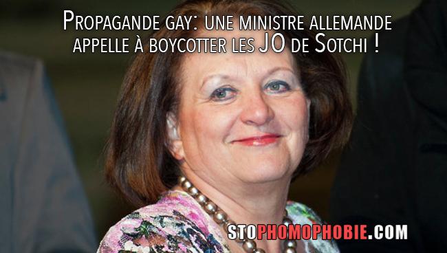 Propagande gay: une ministre allemande appelle à boycotter les JO de Sotchi !