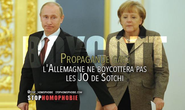 Propagande gay: l'Allemagne ne boycottera pas les JO de Sotchi