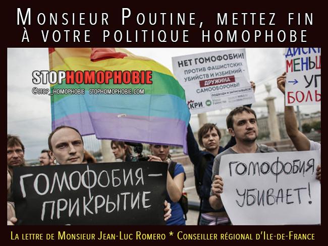 Jean-Luc Romero : Monsieur Poutine, mettez fin à votre politique homophobe!