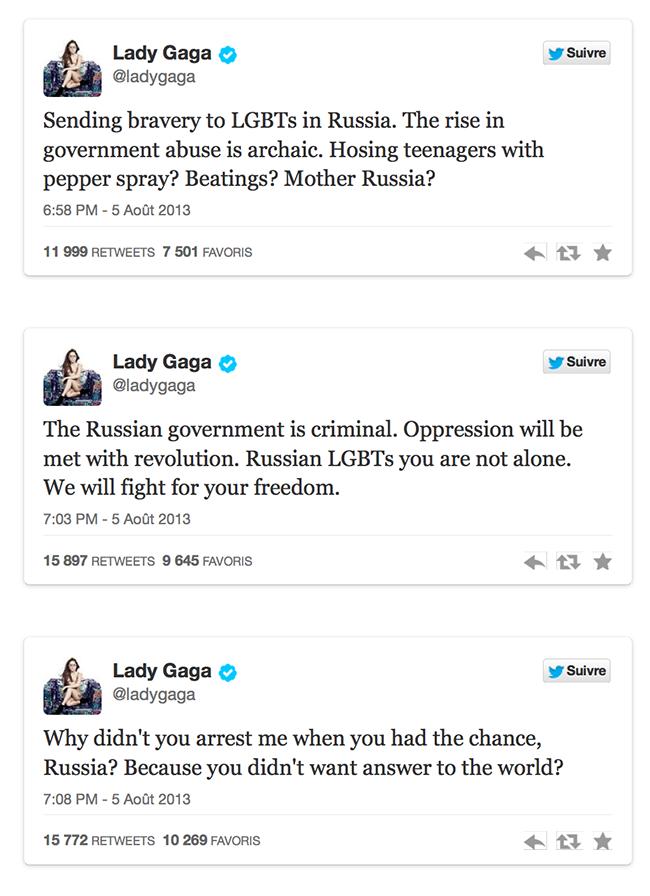 """""""Le gouvernement russe est criminel"""" : quand Lady Gaga défend les gays sur Twitter"""