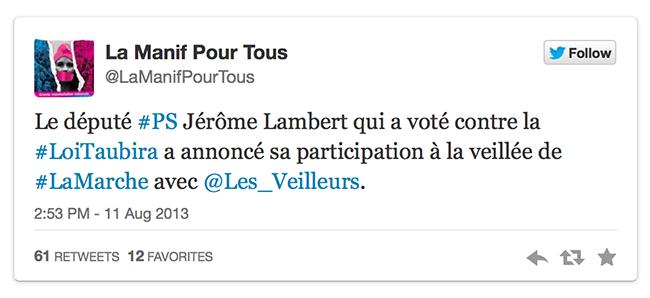 Opposé à la loi Taubira sur la mariage homosexuel, le député PS Jérôme Lambert va rencontrer les Veilleurs