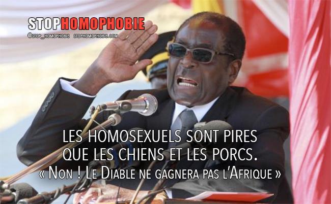 Portrait - Robert Mugabe : les homosexuels « sont pires que les chiens et les porcs » Non ! « Le Diable ne gagnera pas l'Afrique »