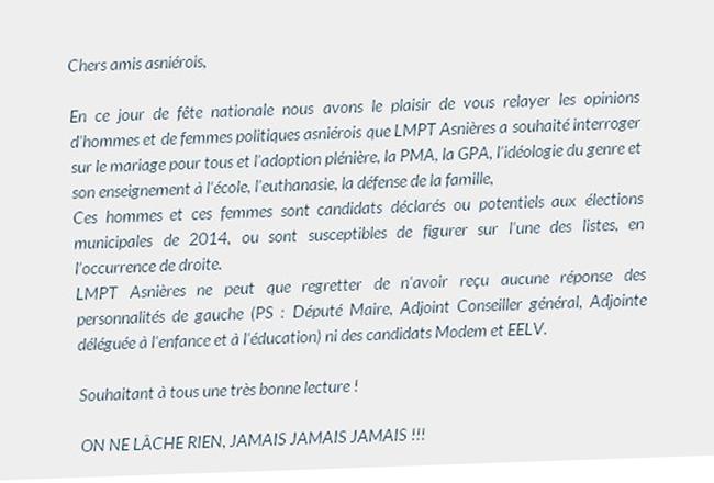 A Asnières, la Manif pour tous fait circuler un questionnaire aux élus locaux